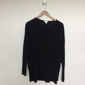 GUC Black lightweight sweater split hem tunic